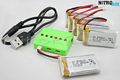 6 аккумуляторов 650ма/ч + зарядное на 6 акб (для syma x5sw, x5sc)
