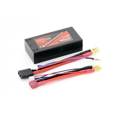 аккумулятор li-po 7.4в 4600мач 60c 2s короткий (кабели trx, t-plug)