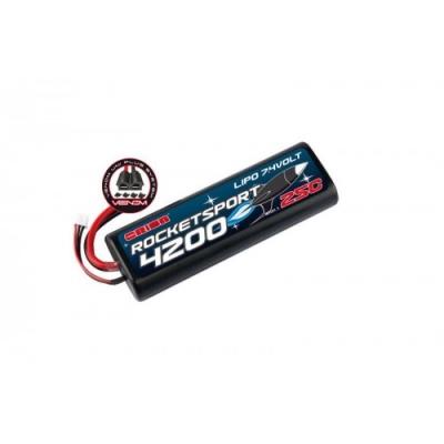 rocket spot li-po 7,4в(2s) 4200mah 25c hard case venom uni plug