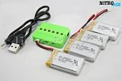4 аккумулятора 650ма/ч + зарядное на 6 акб (для syma x5sw, x5sc)