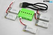 5 аккумуляторов 380мА/ч + зарядное на 6 акб (для SYMA X11, X11C)