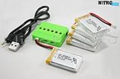5 аккумуляторов 650мА/ч + зарядное на 6 акб (для SYMA X5SW, X5SC)