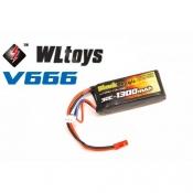 LiPo 7,4В(2S) 1300 mAh 30C Soft Case JST-BEC plug (for WLToys V666)